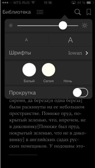 настройки ibooks